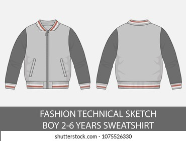 Fashion technical sketch boy 2-6 years sweatshirt in vector graphic