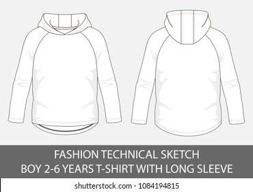Fashion technical sketch for boy 2-6 years hoody t-shirt with long sleeve in vector graphic