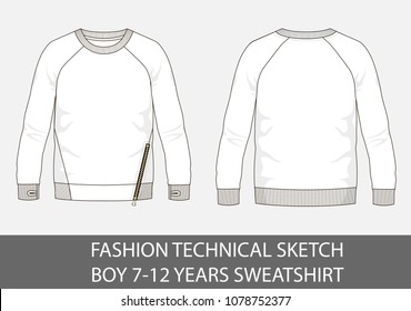 Fashion technical sketch for boy 7-12 years sweatshirt in vector graphic