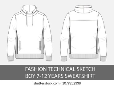 Fashion technical sketch boy 7-12 years sweatshirt with cowl nec in vector graphic