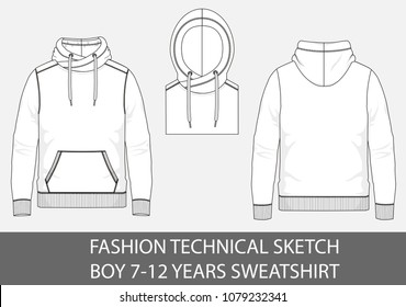 Fashion technical sketch boy 7-12 years sweatshirt with hood in vector graphic