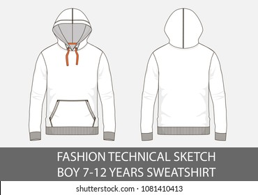 Fashion technical sketch for boy 7-12 years sweatshirt with hood in vector graphic
