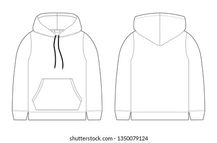 Fashion technical sketch for men hoodie. Mockup template hoody. Front and back view. Technical drawing kids clothes. Sportswear, casual urban style. Isolated object of stylish wear