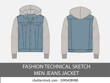 Fashion technical sketch men jeans jacket with hood in vector