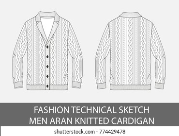 Fashion technical sketch men knit aran single-breasted cardigan in vector graphic