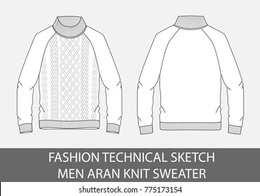Fashion technical sketch men knit aran single-breasted sweater in vector graphic