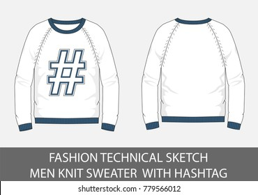 Fashion technical sketch men Knit Sweater with hashtag in vector graphic