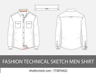 Fashion technical sketch men shirt with long sleeves and patch pockets in vector graphic