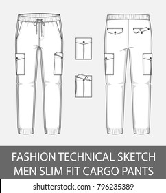 Fashion technical sketch men slim fit cargo pants with 2 patch pockets in vector graphic