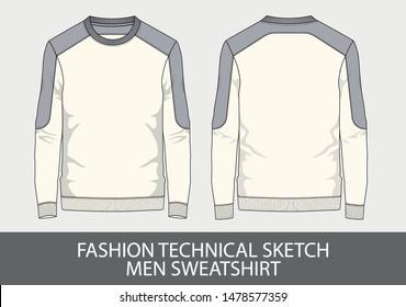 Fashion technical sketch men sweatshirt in vector graphic