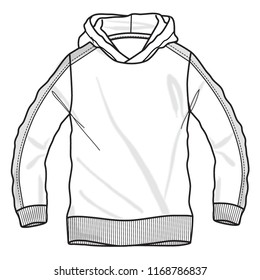 Fashion technical sketch, sweatshirt with hood in vector graphic