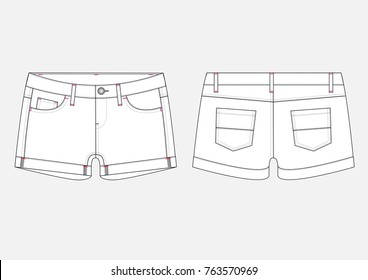 Fashion technical sketch of woman Denim Shorts in vector graphic