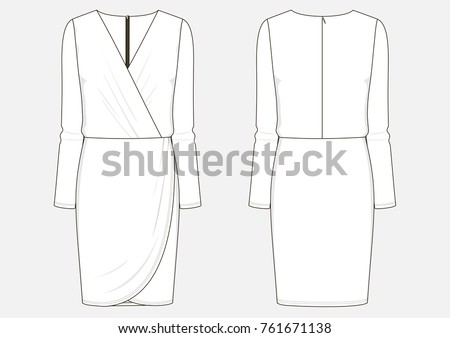 Fashion Technical Sketch Women Middle Dress Stock Vector Royalty
