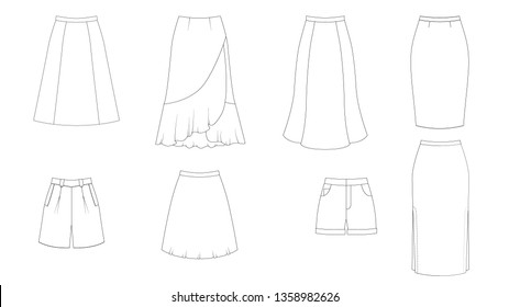 Fashion technical sketch of women  skirt in vector graphic, template collection. Different styles