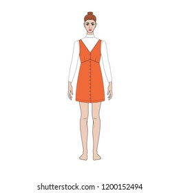 Fashion technical sketch of women sundress in vector graphic