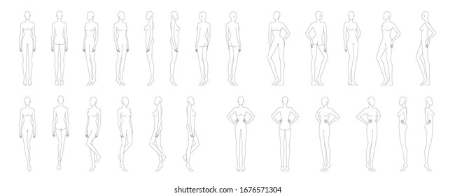Fashion template of 25 women in different poses. 9 head size for technical drawing. Lady figure front, side, 3-4 and back view. Vector girls for fashion sketching and illustration.