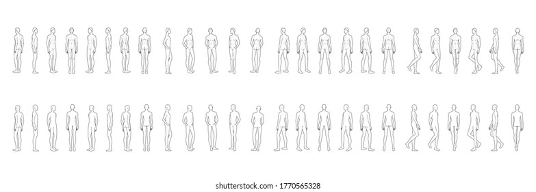 Fashion template of 50 men in different poses with lines. 9 head size for technical drawing. Gentlemen figure front, side, 3-4 and back view. Vector outline boy for fashion sketching and illustration.