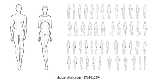 Fashion template of 50 men and women. 9 head size for technical drawing. Gentlemen and lady figure front, side, 3-4 and back view. Vector outline boy and girl for fashion sketching and illustration.