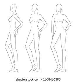 Fashion template of lady in standing poses. 9 head size for technical drawing. Woman's figure front and side view. Vector outline girl template for fashion sketching and illustration.