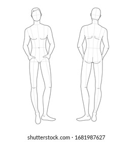 Fashion template of relaxing stand men. Gentlemen figure front and back view. Vector outline boy for fashion sketching and illustration.