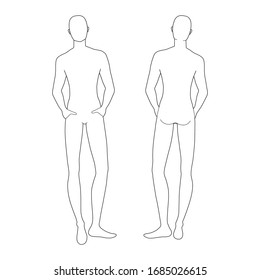 Fashion template of relaxing stand men. 9 head size for technical drawing. Gentlemen figure front and back view. Vector outline boy for fashion sketching and illustration.