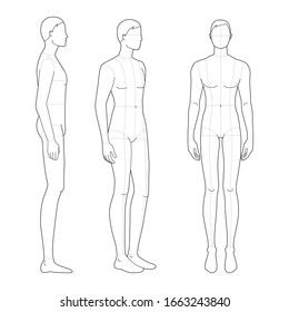 Fashion template of standing men in 3 poses. 9 head size for technical drawing with main lines. Gentlemen figure front, 3-4 and side view. Vector outline boy for fashion sketching and illustration.