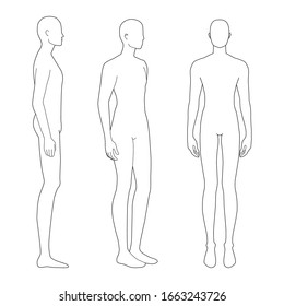 Fashion template of standing men. 9 head size for technical drawing. Gentlemen figure front, side and 3-4 view. Vector outline boy for fashion sketching and illustration.