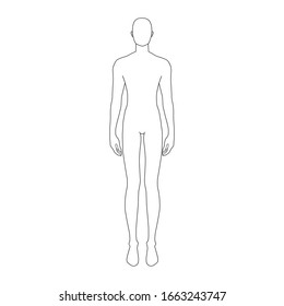Fashion template of standing men. 9 head size for technical drawing. Gentlemen figure front view. Vector outline boy for fashion sketching and illustration.