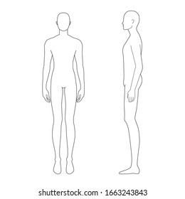 Fashion template of standing men. 9 head size for technical drawing. Gentlemen figure front and side view. Vector outline boy for fashion sketching and illustration.