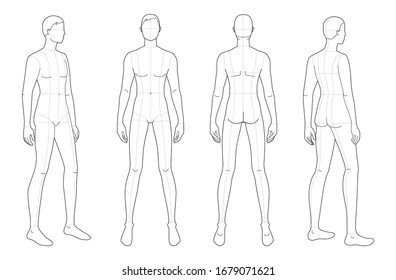 Fashion template of standing men. 9 head size for technical drawing with main lines. Gentlemen figure front, 3-4 and back view. Vector outline boy for fashion sketching and illustration.