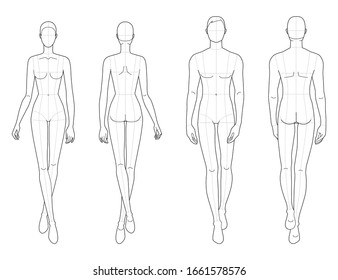 Fashion template of walking men and women. 9 head size for technical drawing with main lines. Gentlemen and lady figure front and back view. Vector outline for fashion sketching and illustration.