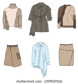 Fashion trend: asymmetry in clothes. Trendy trench coat, shirt, sweaters, skirts in pastel desert colours for traveling, business, holidays. Isolated objects on white background. Illustration.