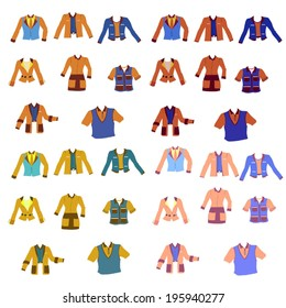 Fashion trends set, Set of Different uniforms in different colors, Vector Uniforms, Dress codes, Overcoat set, Set of suits