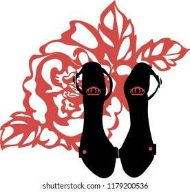 Fashion trendy silhouette black high heel shoes with rose on background. Stylish logo. Beautiful icon for any design