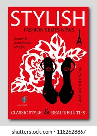 Fashion trendy silhouette black high heel shoes with rose on background. Fashion magazine cover design. Vector illustration