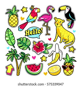 Fashion tropic patches with fruits, leopard, flamingo, toucan and other elements. Vector illustration isolated on white background. Set of stickers, pins, patches in cartoon 80s-90s trendy style.
