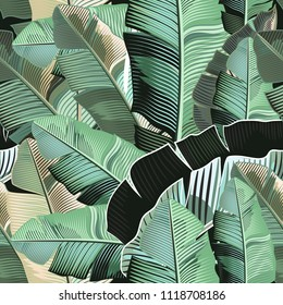 Fashion tropical pattern with realistic banana green leafs