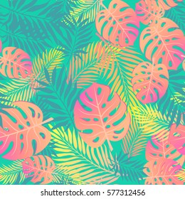 Fashion tropical seamless pattern. Colorful palm leaves. Modern trendy endless background.