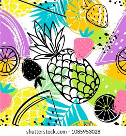 Fashion tropics funny wallpapers. Seamless pattern with pineapples, strawberries and oranges on white background. Bright summer fruits illustration. Fruit mix design for fabric and decor.