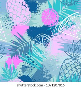 Fashion tropics funny wallpapers. Seamless pattern with pineapples, watermelon and oranges on pastel background. Summer fruits illustration. Fruit mix design for fabric and decor.