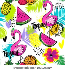 Fashion tropics funny wallpapers. Seamless pattern with flamingo, pineapples, watermelon and oranges on bright colors. Summer fruit mix design for fabric and decor.