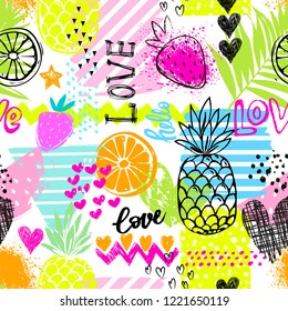 Fashion tropics funny wallpapers. Seamless pattern with pineapples, strawberries and oranges on white background. Bright fruits mix design for fabric and decor.