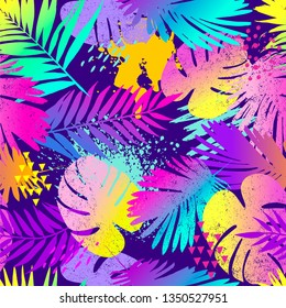 Fashion tropics funny wallpapers. Seamless pattern with leaf on white background.