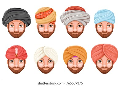 Fashion turban headdress arab indian culture sikh sultan bedouin cute beautiful man head hat isolated icons set cartoon design video chat effects photo portrait vector illustration