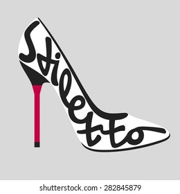 Fashion typography, shoe typography, shoes typography, stiletto heel typography, fashion calligraphy, fashion history, shoe history, shoe types, shoe typology, fashion encyclopedia.