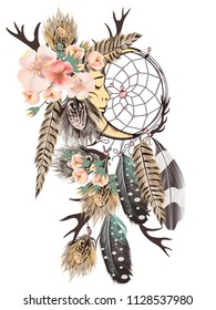 Fashion vector bohemian dreamcatcher with feathers and wild roses