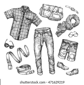 Fashion. Vector collection of men clothing. Hand-drawn sketch shirt, jacket, shorts, shoes, boots, jeans, pants, scarf, belt, glasses, watches, bag