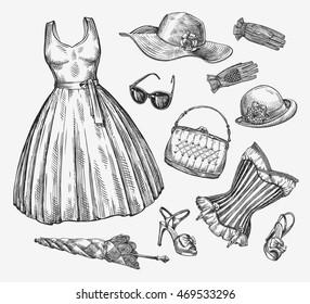 Fashion. Vector collection of women clothing. Hand-drawn sketch umbrella, dress, sunglasses, corset, handbag, hat, gloves, shoes