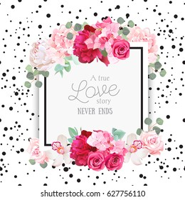 Fashion vector design square card with black confetti background. White and burgundy red peony, pink roses and hydrangea flowers, orchid, eucalyptus leaves. All elements are isolated and editable.