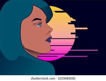 Fashion vector illustration with darkhaired girl and synthwave glitched sun on background.